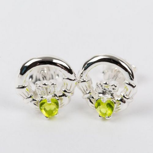 Claddagh Earrings Sterling Silver CZ Peridot Stone